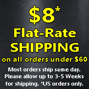 $8 Flat Rate shipping on orders under $60, US only